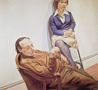 "Philip Pearlstein, ""Al Held and Sylvia Stone"" (1968). Oil on Canvas, 66 x 72 inches, 167.64 × 182.88 cm. © Philip Pearlstein, Courtesy Betty Cuningham Gallery, New York"