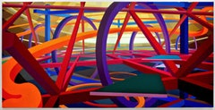"Al Held, ""Roberta's Trip II"" (1986). Acrylic on canvas. 108 × 216 inches, 274.32 × 548.64 cm.  © 1986,  Al Held Foundation/Licensed by VAGA, New York, NY."