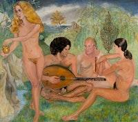 """Sylvia Sleigh, """"Concert Chempêtre� (1976). Oil on canvas. 72"""