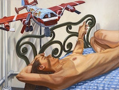 MODEL ON CAST IRON BED WITH WEATHERVANE AIRPLANE, #2, 2005 Oil on canvas 36 x 48 inches 91.44 x 121.92 cm.   	© Philip Pearlstein, Courtesy Betty Cuningham Gallery, New York.
