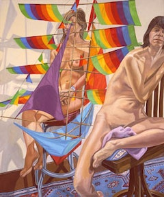 TWO MODELS WITH CHINESE KITE, 2005 Oil on canvas 72 x 60 inches 182.88 x 152.4 cm.  © Philip Pearlstein, Courtesy Betty Cuningham Gallery, New York.