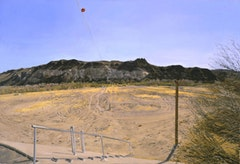 WATER-FLOW MONITORING INSTALLATIONS ON THE RIO GRANDE NEAR PRESIDIO, TX, Part 3) FACING SOUTH, THE FLOOD-PLAIN FROM WEST  OF THE GAUGE SHELTER, 4 PM, 2002-03.  Oil on canvas 28 1/2 x 42 inches 72.39 x 106.68 cm © Rackstraw Downes, Courtesy Betty Cuningham Gallery, New York.