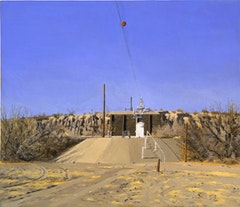 WATER-FLOW MONITORING INSATALLTIONS ON THE RIO GRANDE NEAR PRESIDIO, TX, Part 5) KEY PAINTING, FACING NORTH, THE FLOOD-PLAIN; GAUGE SHELTER PLATFORM, CABLEWAY AND RETAINING WALL, 9 AM, 2002-03.  Oil on canvas 16 1/2 x 19 inches 41.91 x 48.26 cm © Rackstraw Downes, Courtesy Betty Cuningham Gallery, New York.