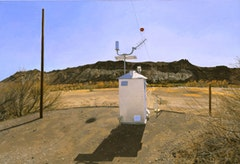 WATER-FLOW MONITORING INSTALLATIONS ON THE RIO GRANDE NEAR PRESIDIO, TX, Part 1) FACING SOUTH, THE GAUGE SHELTER, 1:30PM, 2002-03.  Oil on canvas 28 1/2 x 42 inches 72.39 x 106.68 cm.  © Rackstraw Downes, Courtesy Betty Cuningham Gallery, New York.