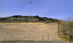 WATER-FLOW MONITORING INSTALLATIONS ON THE RIO GRANDE NEAR PRESIDIO, TX, Part 2) FACING SOUTH, THE FLOOD-PLAIN FROM EAST OF THE GAUGE SHELTER, 10 AM, 2002-03.  Oil on canvas 28 1/2 x 48 inches 72.39 x 121.92 cm © Rackstraw Downes, Courtesy Betty Cuningham Gallery, New York.