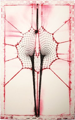 Shazam (Red and Blue). 2009. Fishnet bodysuit pigment embossing on cotton base sheet. 59.5 x 39.25 inches. 151.1 x 99.7 cm