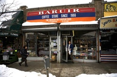The storefront of Baruir, an Armenian coffee and grocery store in Sunnyside.