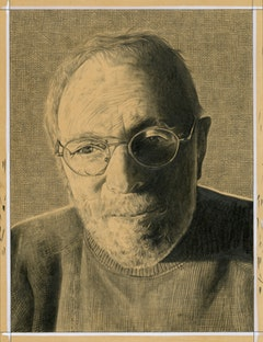 Portrait of Arnold Mesches. Pencil on paper by Phong Bui.