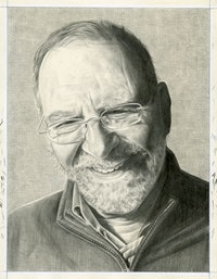Portrait of Leonard Lopate. Pencil on paper by Phong Bui.