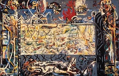"Jackson Pollock, ""Guardians of the Secret"" (1943). 483/8 in. × 753/8 in.; oil on canvas; Collection SFMOMA; © Pollock-Krasner Foundation / Artists Rights Society (ARS), New York."