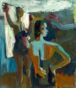"""David Park, """"Two Bathers"""" (1958) 58 in. × 50 in.; oil on canvas; Collection SFMOMA; © Estate of David Park."""