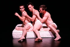 Julian Barnett, Larry Keigwin and Alexander Gish in <i>Mattress Suite.</i> Photo by David Bazemore.