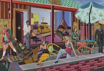 Mark Greenwold, <i>Furlough</i> (1968). Acrylic on canvas, 83 x 119 inches. Courtesy DC Moore Gallery.