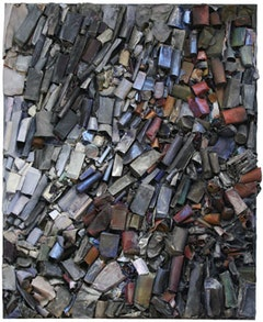 "Linda Cross, ""Untitled"" (1985). Mixed media assemblage on canvas. 80 x 65 x 4 inches. 203.2 x 165.1 x 10.2 c"
