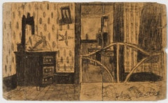 James Castle: Bedroom with spot-patterned wallpaper, brass bed, bundle on dresser, and star drawing on wall, n.d.; soot-and-spit drawing with stick-applied lines and wiped soot wash on thin gray/tan cardboard (flattened matchbox sleeve); signed by artist in blue ballpoint pen, lower right: James Castle; Verso: Bedroom viewed from opposite side; 5 x 8-1/2 in.; Collection of Nancy and Michael Yecies, Gladwyne, Pennsylvania.