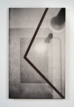 """R. H. Quaytman, """"Chapter 12: iamb"""" (2008). Oil, silkscreen, and gesso on wood, 32 3/8 x 20 in. (82.2 x 51 cm). Collection of Laura Belgray and Steven Eckler; courtesy Miguel Abreu Gallery, New York. Photograph by John Berens"""
