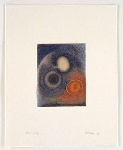 "Dorothea Rockburne, ""Piero's Sky"" (1991-92.) Lascaux Aquacryl and Caran d'Ache on handmade banana paper, mounted on ragboard,  24 3⁄4 x 19 1⁄2 inches"