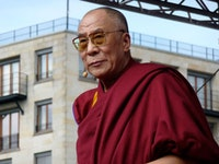 The Dalai Lama in Tenzing Sonam and Ritu Sarin's <i>The Sun Behind The Clouds.</i> © White Crane Films.