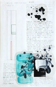 David Reed, <i>Working Drawing for Painting #590</i>, Page four of five pages, 17 x 11 inches each page, Mixed media on paper, 2009