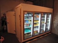 Andrew Ohanesian,  <i>I would have liked to have seen Montana...</i> (2010). Walk-in cooler with anthony doors, beverages.
