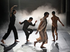 Trisha Brown Dance Company, <i>Opal Loop/Cloud Installation #72503</i> (1980), with Nicholas Strafaccia, Elena Demyanenko, Tamara Riewe, and Dai Jian. Performance at Dia:Beacon, Beacon, NY. May 2010. Photo: © Stephanie Berger.