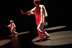 Dana Reitz and Sara Rudner in <i>Necessary Weather</i>.  Choreographic design by Dana Reitz with Jennifer Tipton and Sara Rudner.  Photo by Julieta Cervantes.