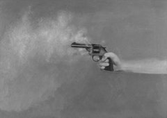 "Vija Celmins, ""Pistol"" (1964). Oil on canvas, 241/2 °— 341/2 inches. Courtesy of the artist and David McKee Gallery."