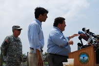 A press conference in Venice concerning the spill, with Billy Nungesser (far right) and Bobby Jindal.