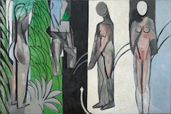 """Henri Matisse. """"Bathers by a River"""" (1909–10, 1913, 1916–17). Oil on canvas. 102 1/2 x 154 3/16 inches. The Art Institute of Chicago, Charles H. and Mary F. S. Worcester Collection, 1953.158. © 2010 Succession H. Matisse / Artists Rights Society (ARS), New York."""