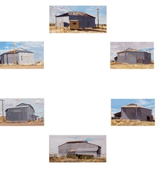 "Rackstraw Downes. ""Circumambulation Clockwise of the Six-Sided Bull Barn, Marfa, TX"" (2007). Oil on canvas. 37 x 37 inches overall. Collection of Ellen Phelan and Joel Shapiro, New York."