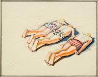 "Wayne Thiebaud, ""Three Prone Figures"" (1961). Oil on canvas, 14 x 18 inches. Collection of Paul LeBaron Thiebaud. Photo: Ira Shrank, Sixth Street Studio"