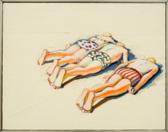 "Wayne Thiebaud, ""Three Prone Figures"" (1961). Oil on canvas, 14 x 18 inches. Collection of Paul LeBaron Thiebaud. Photo: Ira Shrank, Sixth Street Studio"