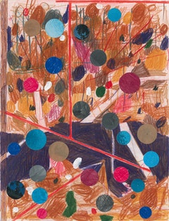 "Patrick Michael Fitzgerald, ""Andratx Drawing (Pools, Thoughts)"" (2009). Colored pencil and collage on paper. 32.5 × 25 cm."