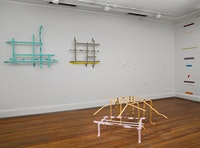 "Installation view, Tape and Steel: Sculpture and Tape Drawings by Rebecca Smith (2010). Foreground shows ""Pink House"" (2009) and ""Orange Animal"" (2009)."