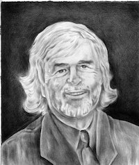 Portrait of T.J. Clark. Pencil on paper by Phong Bui.