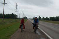 Iris Howard and Alex Berger on a Kansas highway. Photo by Katy Bolger.