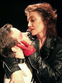 Zack Calhoon as Lady Anne, Gail Cronauer as Richard in JSC's 2004 production of Richard III. Photo by Shawn Washburn.