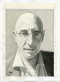 Portrait of Philip S. Golub.  Pencil on paper by Phong Bui.