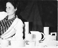 "Eva Zeisel with her ""Schramberg"" designs, ca.1930. Photograph courtesy Eva Zeisel archives."