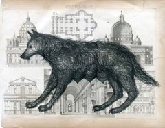"Paolo Canevari, ""She-Wolf"" (2010). 35cm x 40cm. Graphite on 19th century print."