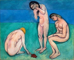 "Henri Matisse (French, 1869-1954). ""Bathers with a Turtle"" (1907-08). Oil on canvas, 179.1 × 220.3cm (701/2 × 873/4 in). Saint Louis Art Museum, gift of Mr. and Mrs. Joseph Pulitzer Jr., 24:1964. © 2010 Succession H. Matisse / Artists Rights Society (ARS), New York."