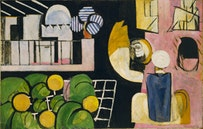 """Henri Matisse. """"The Moroccans"""" (Issy-les-Moulineaux, late 1915 and fall 1916). Oil on canvas. 713/8˝ × 9´2˝ (181.3 × 279.4 cm). The Museum of Modern Art, New York, Gift of Mr. and Mrs. Samuel A. Marx. ©2010 Succession H. Matisse/Artists Rights Society (ARS), New York."""