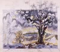 "Charles Burchfield, ""Dawn of Spring"" ca. 1960s watercolor, charcoal, and white chalk on joined paper mounted on board. 52 x 59 1/2 inches."
