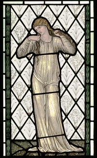 "Edward Burne Jones (1833 - 1898). ""Elaine"" (1870). Manufactured by Morris & Co. Stained and painted glass, 86,3 x 51,4 cm. Victoria and Albert Museum, London, Bequeathed by J.R. Holliday. ©V&A Images/Victoria and Albert Museum, London."