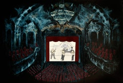"Avish Khebrehzadeh, ""Theater III"" (2010). 135 x 90 inches, oil on gesso and wood, with video animation.  Courtesy of the artist."