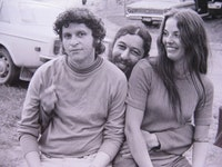 Tuli Kupferberg (center) with Paul Krassner and unidentified friend; photo: Paskal