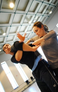 Victor Quijada and Anne Plamondon rehearsing at Place des Arts.  Photo by Jean-Sebastien Cossette.