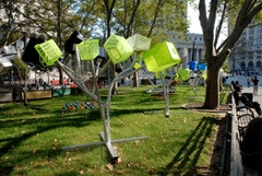 Dennis Oppenheim, Installation view of Garden of the Accused at Thomas Paine Park, 2006. Courtesy the City of New York, Parks and Recreation.
