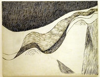"""Louise Bourgeois, """"Untitled"""" (1960). Ink on cardboard. 22"""