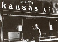 """Ronald Bladen outside Max's Kansas City."" Courtesy Loretta Howard Gallery."